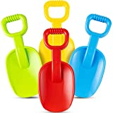 Jumbo Beach Shovels - 14 Inch (Pack of 4) Beach Shovels for Kids, Heavy Duty Plastic, Assorted Colors, Scoop Shovel Toys with Handle for Digging Sand and Beach Fun Gift Set Bundle