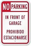 Señal de aluminio con texto en inglés 'Vivityobert No Parking in Front of Garage', de Prohibido Estacionar, con texto en inglés 'Private Property Signs Aluminum', señal de advertencia divertida, letrero de metal para pared, decoración del hogar, 12 x 18 pulgadas