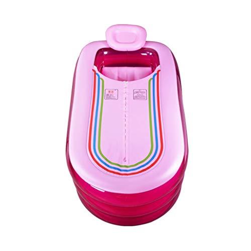 ZHJ Aufblasbare Badewanne Groß Haushalt Erwachsene aufblasbare Badewanne Einzel Thick Folding Badewanne Barrel Erwachsene Badewanne Badebottich-Can Be Liegen Whirlpools (Color : Pink)