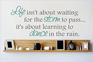 Life Isn't About Wait for Storm to Pass It's About Learn to Dance in rain. Quote Quotes Home Decor Vinyl Wall Sticker Decals Motivational Motivation Peace Happy Love Size 8 X 20 Inches