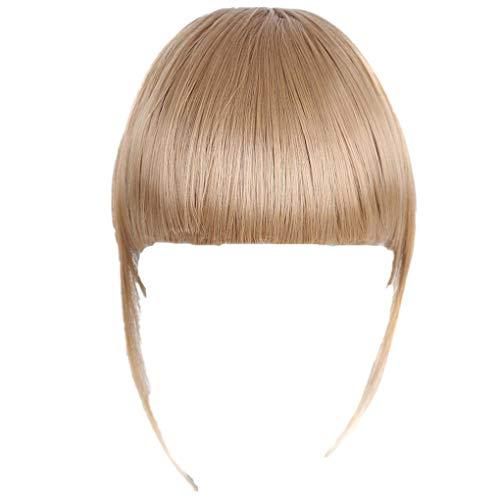 Dorical Echthaar Clip-in-Pony, Haar-Verlängerung glattes Pony-Haarteil für Damen/Günstig Haarverlängerung 25g Dunkelbraun