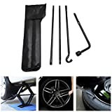 HTTMT- Tire Replacement Repair Jack Spare Lug Wrench Tire Tool Kit w/Bag Compatible with 05-13 Toyota Tacoma [P/N: ET-CAR-TIRE002-BK]