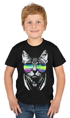 Jungen-Motiv-Shirt/Kinder-Shirt mit Katzen-Druck: DJ Cat Neon - tolles Geschenk- Cooler Look/kräftige Farben