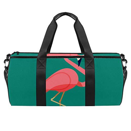 Divertido flamenco con gafas, bolsa de deporte de gimnasio, bolsa de viaje cilíndrica con bolsillo mojado, bolsa de entrenamiento ligera de viaje con correa de hombro para hombres y mujeres