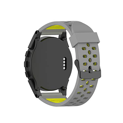 RuenTech Bands Compatible with Bushnell Neo Ion/Neo Ion 2 / Excel Golf GPS Watch Band Silicone Sport Straps (Gray/Yellow)