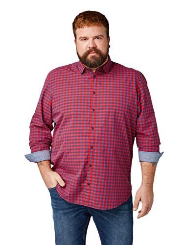TOM TAILOR Langarm-Hemd Kariertes Herren Kent Kragen-Hemd mit Knopfleiste Karo-Hemd Sommer-Hemd Rot/Blau, Größe:3XL