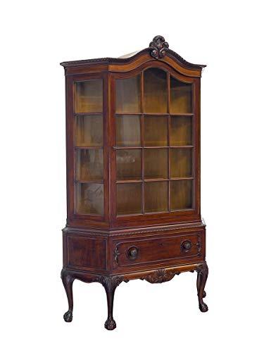 Vitrine antik aus Nussbaum | Vitrinenschrank Glasvitrine Bücherschrank | Chippendale Stil um 1920 | 1-türig B: 125 cm (10150)