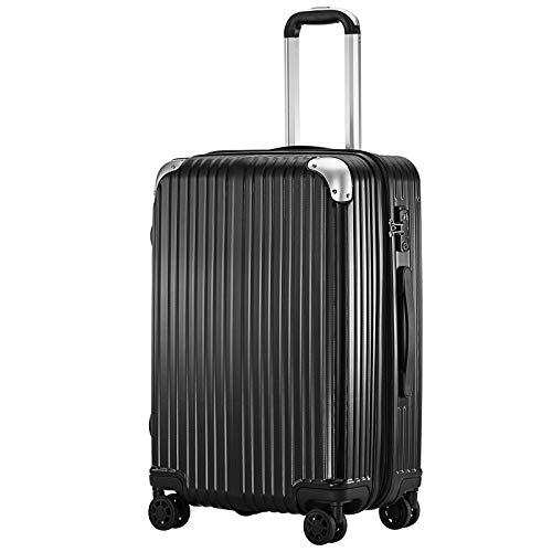 (TTOバリジェリア)TTOVALIGERIA スーツケース Sサイズ機内持ち込み キャリーケース キャリーバッグ 容量拡張 軽量 静音 TSAロック搭載 ファスナータイプ 大型 (Mサイズ ブラック)