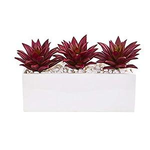"Silk Flower Arrangements Nearly Natural 8"" Triple Agave Succulent Artificial White Vase Silk Plants, Burgundy"