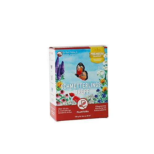 Plantura Schmetterlingstreff, 150 g, Premium-Saatgut für Schmetterlingswiese, EIN- & mehrjährige Blumenmischung für Beet & Topf