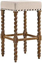 product image for Carolina Chair & Table Remick 30 Inch Bar, Natural Oak/Linen Stool