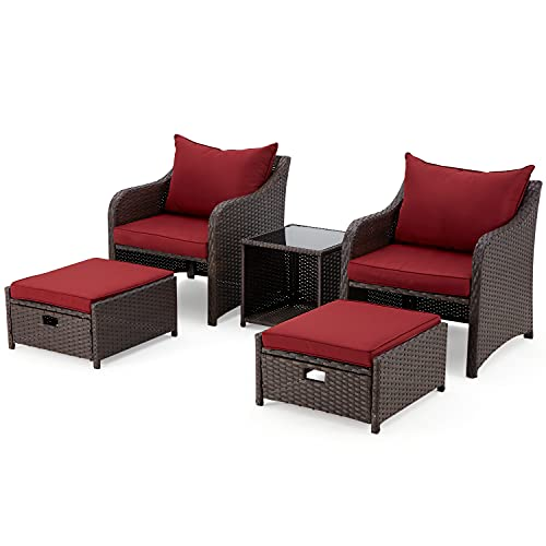 EROMMY 5 Pieces Patio Outdoor Rattan, Wicker Chair and Table, Patio Conversation Set with Seat Cushions and Glass Table, Suitable for Backyard, Porch, Garden, Poolside, Balcony