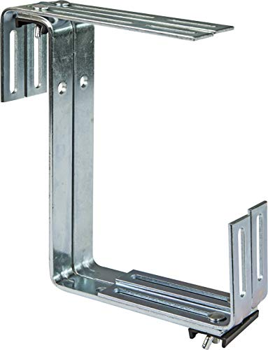 Windhager Blumenkasten-Halter für Brüstungen und Balkongeländer, 2-fach verstellbar, Tragkraft 25 kg, 19 x 17 cm, Verzinkt, 05837