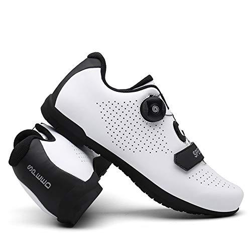 BING FENG MTB Radfahrenschuhe Professionelle Outdoor Athletic Racing Bike-Schuhe No-Locking Fahrradschuhe Turnschuhe (Farbe : White, Shoe Size : 9)