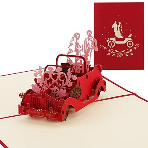 Vegena Hochzeitskarte, Glückwunschkarte Hochzeit Karte 3D Pop Up Karten Glückwunsch Hochzeitsgeschenk Geschenkkarte Geburtstagskarte für Frauen Brautpaar Freundin Valentinstag Liebhabers