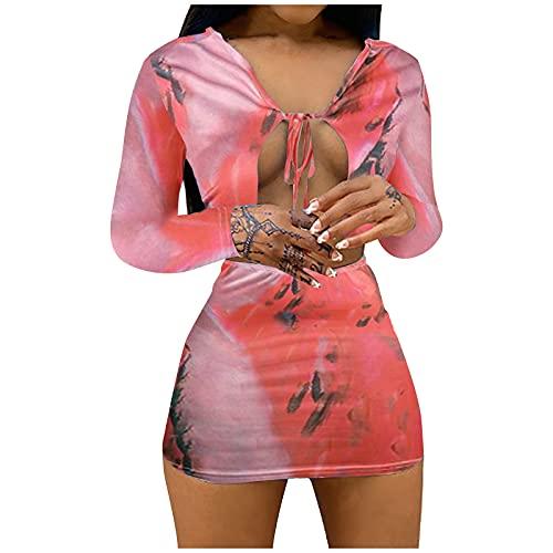 StarneA Sommerkleid Damen Kurz, Sexy V Ausschnitt Cocktailkleider Bodycon Kleid Damen Kurz Club Kleider Wickelkleid Minikleid Lässiges Langarm Druckkleider