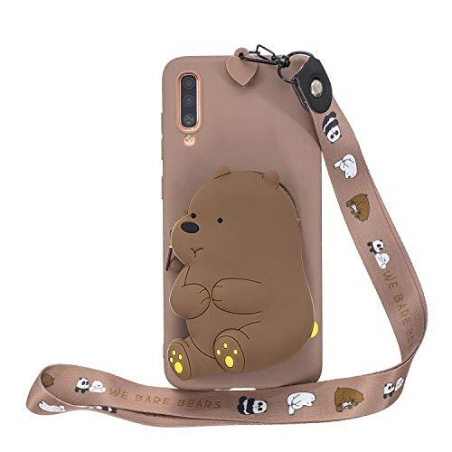 Miagon Silicone Coque pour Samsung Galaxy A50,3D Mignon Portefeuille Stockage Sac Désign Cover avec Collier Lanyard Sangle Chaîne,Marron Ours