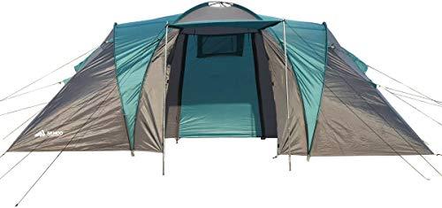 Semoo - Zelt mit Tragetasche für 4 Personen - 2 Eingänge - 2 Kabinen + Zwischenraum - Wasserdicht - 3-Jahreszeiten Familienzelt - Blau/Grau