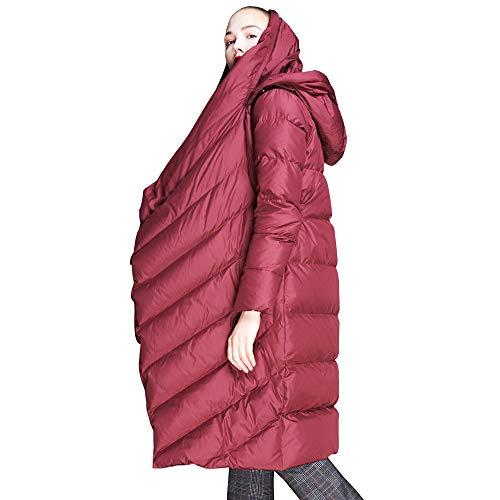 Jsix Damen Mantel Daunenmantel Parka Coat Wintermantel Bodenlang Mit Kapuze (M, Rot)
