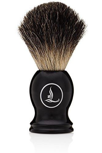 Latherwhip Shaving Brush - Best Badger Grade Hair, Rare 100% Black Badger Bristles, Resin Handle, 22mm Knot, 54mm Loft, Gift Box - Fits Most Shave Stands, For Men Who Use Safety, DE, and Mach 3 Razors