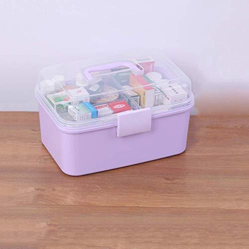 1yess Haushalts Medizin-Kasten Großer Erste-Hilfe-Kit Medizin Box Medical Box Startseite Kind Baby Medizin-Aufbewahrungsbehälter Lila 26x17x16.5cm Apotheke