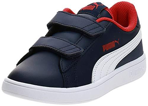 Puma Unisex-Kinder Smash v2 L V PS Sneaker Blau Peacoat White-High Risk Red, 33 EU
