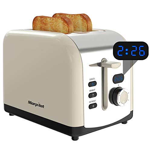2 Slice Toaster, Morpilot Toaster with 2 Wide Stainless Steel Slot and LED Display