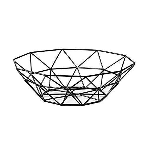 IBWell Ten horns Small-scale Modern Creative Stylish Single Tier Dish,Metal Iron Wire Fruit Vegetables Bread Decorative Stand Serving Bowls Basket Holder (Black 1PCS)