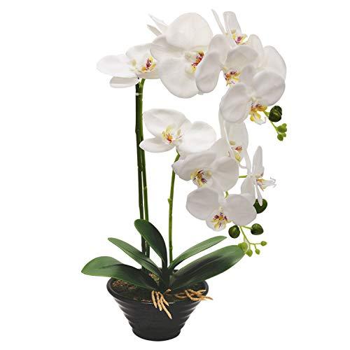 True Holiday Flores Artificiales de orquídea con jarrón de Porcelana