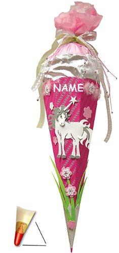 alles-meine.de GmbH Schultütenbastelset - BASTELSET Schultüte - Einhorn - 85 cm - incl. Namen - mit Holzspitze - Zuckertüte Roth - rosa pink - 6 eckig Mädchen Pferde Blumen Einhö..