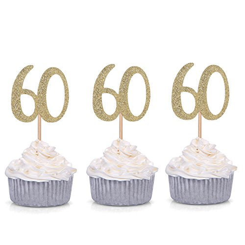 Giuffi Set of 24 Golden 60th Birthday Cupcake Toppers Party Decors