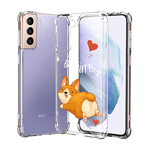 Compatible with Samsung Galaxy S21 Case for Women Girl Clear with Design,Slim [Shock-Absorbing] Protective Cover Case for Samsung Galaxy S21 (Cute Corgi)