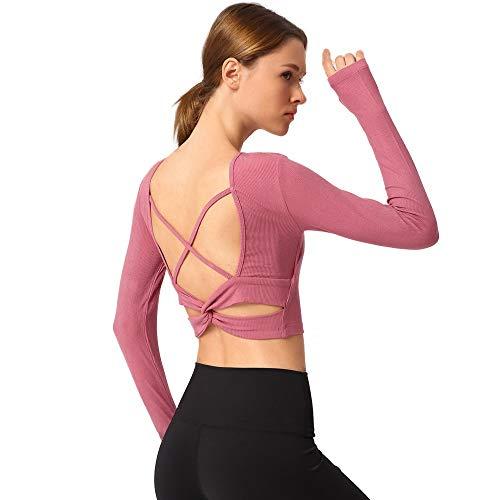 Liaiqing Belle Retour Net Rouge Nouveau Sexy Yoga Sport à Manches Longues T-Shirt Croix de Sport Ceinture Mince Fitness T-Shirt Femme avec Pad Poitrine (Color : Noir, Taille : M)