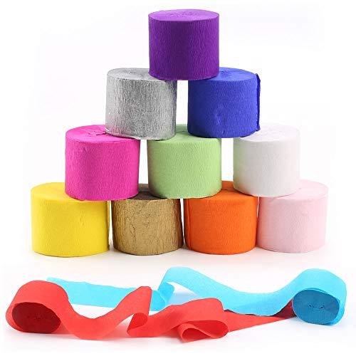 HO2NLE 30 Rollen Kreppbänder Bunt Krepppapier 3.5 x 100cm Kreppband Basteln Crepe Paper Creppapier Band für Hochzeit Taufe Party Geburtstagsfeier Feier Dekoration
