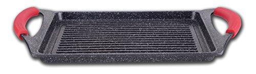 Euronovità EN-22134 Poêle Grill avec revêtement en Pierre de Lave, 36 x 25 x 6 cm, Noir