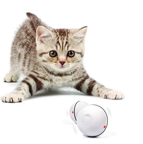 Katzenspielzeug, Elektrisch Katzenball, Interaktives Spielzeug Katzen Ball mit LED Licht (USB-Aufladung) zur Stimulierung des Jagdtriebs Lustiges Jäger Spielzeug für Katzen (Weiß)