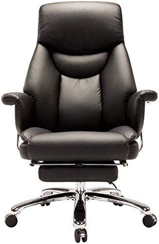 DBL Swivel Computer Stuhl Sessel PU Kunstleder Reclining Computer Stuhl Sofa Armlehne Design Mit Fußraste Bearing Gewicht 150kg Schreibtischstühle (Color : Black)