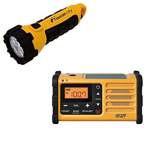 Toucan City LED Flashlight and Sangean AM/FM Handcrank Solar Emergency Alert Radio MMR-88