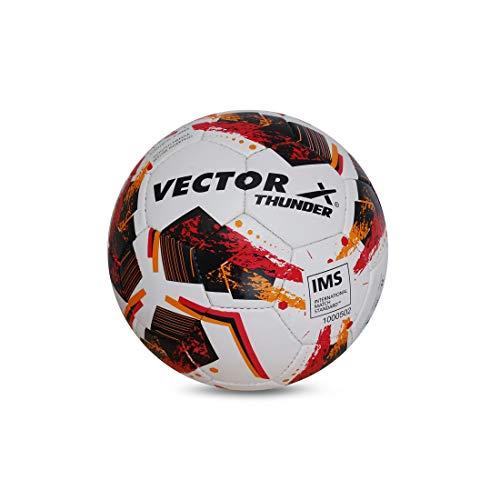 Vector X THUNDER Rubber Hand Stiched IMS (International Match Standard) Football, Size 5 (White-Orange-Black)