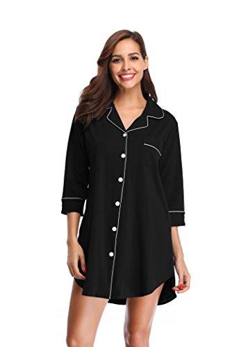 SHEKINI Damen Nachthemd aus Baumwolle Mittellange-Ärmels im Lässigen Boyfriend-Schnitt mit Umlegekragen V Ausschnitt Knopfleiste Pyjamas Tops Elegant Shirt Homewear Schlafanzug(Large, Schwarz)