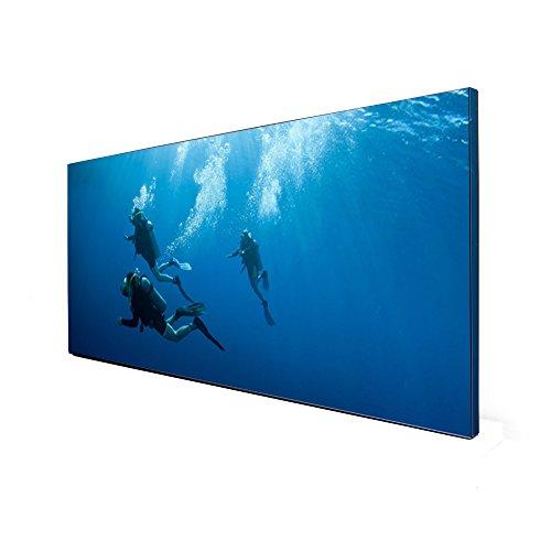 banjado Design Magnettafel schwarz | Wandtafel magnetisch 37x78cm groß | Metall Pinnwand | Memoboard mit Magneten und Montageset | Motiv Taucher