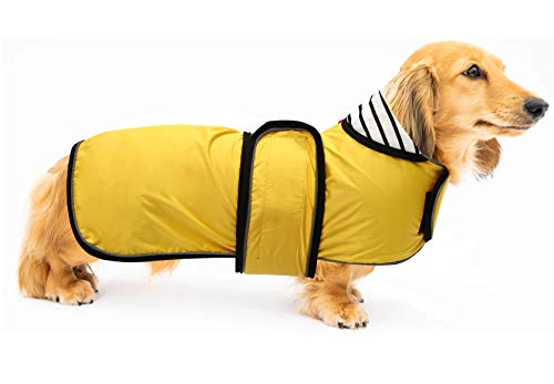 Ctomche Dachshunds Jacket with Harness,Pet Windproof Dog Vest with Reflective Strips,Warm and Cozy Dog Sport Vest,Dog Winter Coat for Dachshunds Yellow-L