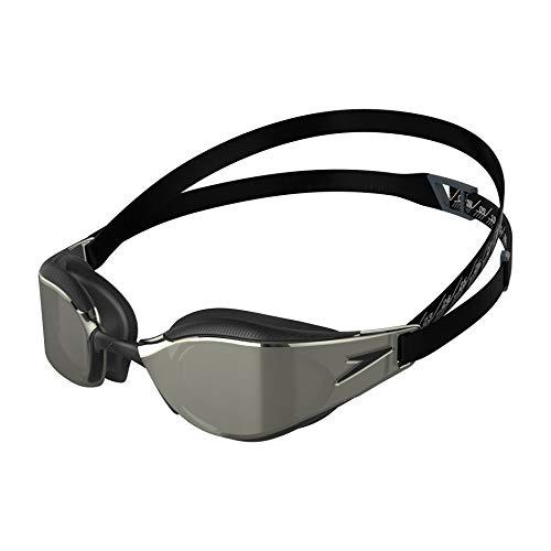 Speedo Fastskin Hyper Elite de Espejo Gafas de natación, Unisex-Adult, Negro/Oxid Grey/Chrome, Einheitsgröße