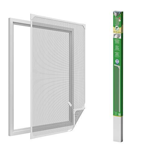 Easy Life Insektenschutz Fenster mit leicht montierbaren PVC Magnetrahmen Fliegengitter ohne Bohren individuell kürzbares Fliegennetz, Farbe:Weiß, Größe:100 x 120 cm