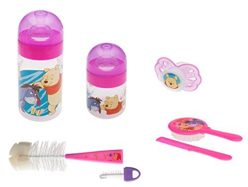 Disney Winnie l'Ourson Rose Flacon 125 ml + 250 ml + Brosse + Kit de soin des cheveux + Sucette