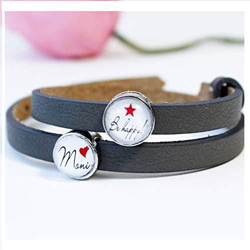 Armband Damen Frauen personalisiert mit Namen als Geschenk für die beste Freundin/Lederarmband mit Schiebeperlen als Geburtstagsgeschenk für Frauen/Freundschaftarmband auch mit 2 Wunschnamen möglich
