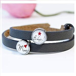 Armband Damen Frauen personalisiert mit Namen als Geschenk für die beste Freundin/Lederarmband mit Schiebeperlen als…