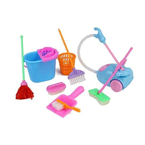 xiaocheng Los Juegos de simulación del hogar Toy Kit Mini Aspirador de Limpieza Escoba de la fregona Herramientas Accesorios Juguetes Ware Juguete para niña Juguetes para niños 9pcs para niños