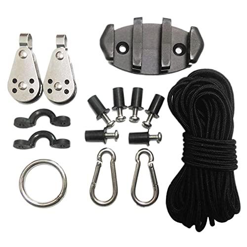 DRXX Kit de Estabilización de Ancla para Kayak, Juego de Hebilla de Cuerda Resistente y Duradera con Hebilla Elástica en Forma de C de Cuerda Hilada con Núcleo, Asiento de Polea, Anillo de Acero