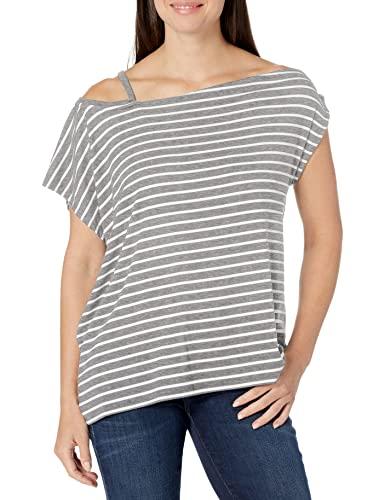Skinnygirl blusa feminina de malha com ombro vazado Alex, Heather Grey - White Stripes, X-Small